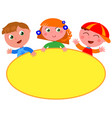 cute kids with blank yellow sign vector image