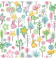 Seamless pattern with rabbits and spring trees vector image vector image