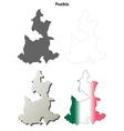 Puebla blank outline map set vector image