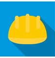 Safety yellow helmet icon flat style vector image