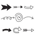 arrows icon set hand drawn on white background vector image