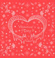 valentine s day card doodle stylecute ethnic two vector image