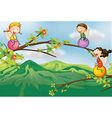 Kids playing at the tree vector image