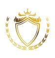 golden shield crown laurel heraldic luxury frame vector image