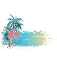 palms and pink flamingo vector image