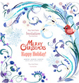 Elegant greeting card with winter pattern and bird vector image vector image