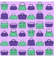 Pattern of colorful handbags on purple background vector image