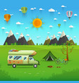 national mountain park camping scene with family vector image