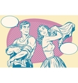 Retro man and woman in the morning wearing clothes vector image