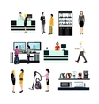 set of people shopping in home electronic vector image