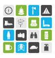 Flat Tourism and Holiday icons vector image vector image