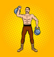 circus strongman with dumbbell pop art vector image vector image
