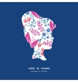 pink flowers girl portrait silhouette vector image vector image