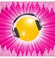 orange disco ball and headphones vector image vector image