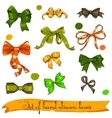 Set of vintage orange green and brown bows vector image