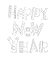 Black and white New Year greetings for coloring vector image