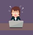 business woman cartoon face a problem about her vector image