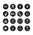 public toilet icons wc restroom simple vector image