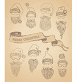 set of retro Santa hats beards moustache and vector image