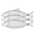 Three fish icon cartoon style vector image