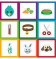 flat icon animal set of temperature measurement vector image