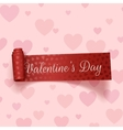 Valentines Day realistic red festive Ribbon vector image