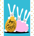 three bunny happy easter vector image vector image