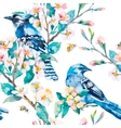 Blue jay on a flowering branch Spring pattern vector image