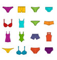 underwear items icons doodle set vector image