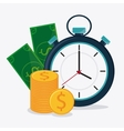 Bills coins and chronometer design vector image