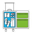 silhouette color section of opened suitcase of vector image