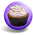 Cupcake on purple badge vector image vector image