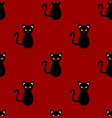 black cat seamless on red background vector image
