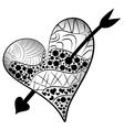 detailed heart pierced an arrow in zentangle style vector image