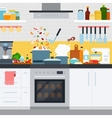 Kitchen with utensils and dishes home cooking vector image