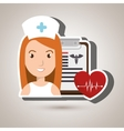 nurse heart clipboard medicine vector image