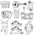 Doodle of music tools theme vector image