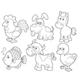 Farm animals cartoon vector image