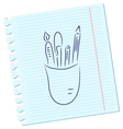 Pencils and pens vector image vector image
