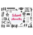 retro school monochrome silhouettes object subject vector image