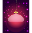 Glowing pink Christmas bauble hanging on beads vector image