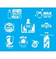 Dairy and milk icons on turquoise blue vector image vector image