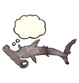 cartoon hammerhead shark with thought bubble vector image