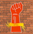 a red hand clenched into a vector image
