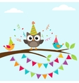 Birthday card with birds vector image