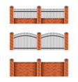 Brick fences set isolated on white vector image