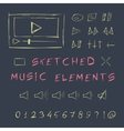 Doodle hand drawn music elements set sketch vector image