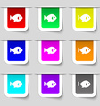 fish icon sign Set of multicolored modern labels vector image