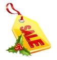 label Christmas sale Mistletoe icon vector image