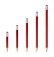 Red wooden sharp pencils vector image